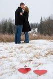 Beso de la tarjeta del día de San Valentín Imagenes de archivo