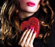 Beso de la tarjeta del día de San Valentín Imagen de archivo