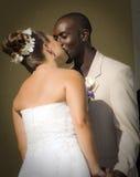 Beso de los pares de la boda de la raza mezclada Fotografía de archivo libre de regalías