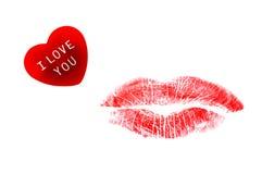 Beso del corazón y del lápiz labial Foto de archivo