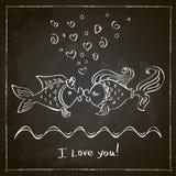 Beso del dibujo de dos pescados Fotos de archivo libres de regalías