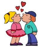 Beso del muchacho y de la muchacha con los corazones rojos arriba Fotos de archivo