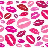 Beso del vector, labios rojos Foto de archivo