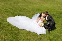 Beso en la hierba imagenes de archivo