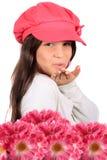 Beso que sopla y flores Fotografía de archivo libre de regalías