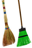 Besom and broom, isolated on white background Royalty Free Stock Photography