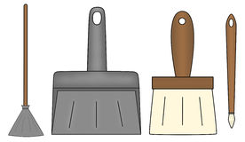 Besom, shovel and brushes Royalty Free Stock Images