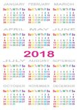 Besonderefarbe des KALENDERS 2018 für jeden Wochentag Stockbilder