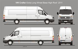 Besonders lange Lieferung Van Blueprint VW Crafters stock abbildung