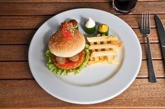 Besonders zugebereiteter Hamburger und Pommes-Frites stockfotos