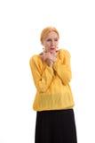 Besorgte alte Frau Stockfotografie