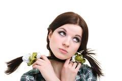 Besorgte besorgte Frau mit Umkippenausdruck lizenzfreie stockfotos