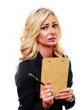 Besorgte blonde Geschäftsfrau Stockfoto