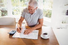 Besorgter älterer Mann mit Steuerdokumenten lizenzfreie stockbilder