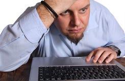 Besorgter Computerbenutzer Lizenzfreies Stockfoto