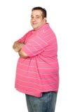 Besorgter fetter Mann mit rosafarbenem Hemd Stockfotos