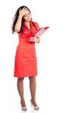 Besorgter Krankenschwester- oder Frauendoktor, der falsche Nachrichten erhält Stockbild