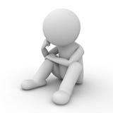 Besorgter Mann 3d, der über Weiß sitzt und denkt Lizenzfreies Stockfoto