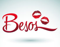 Besos - Kisses spanish text Stock Photo