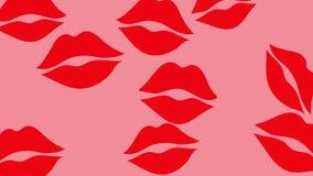 Besos rojos de la barra de labios en la animación rosada del fondo 4 k Cantidad hermosa del diseño del movimiento del amor de día ilustración del vector
