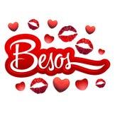 Besos - texto espanhol dos beijos - ícone vermelho 'sexy' dos bordos Imagens de Stock