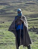 A Besotho shepherd. Most people in the mountains of Lesotho are shepherds as this man Stock Photo