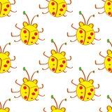 Besouro sem emenda, teste padrão amarelo dos desenhos animados dos erros No estilo das crianças Fundo com insetos felizes Mão col ilustração do vetor