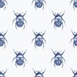 besouro Teste padrão sem emenda 6 da aquarela Fotos de Stock