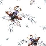 Besouros sem emenda do voo do teste padrão com flores e plantas Ilustração da aquarela do verão e da mola entomology wildlife ilustração royalty free