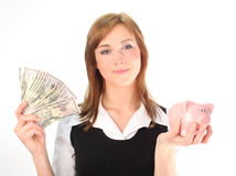 Besparing in een tijd van recessie Stock Foto