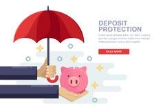 Besparing en beschermingsgeldstorting Vector vlakke illustratie van het menselijke spaarvarken van de handholding en rode paraplu royalty-vrije illustratie