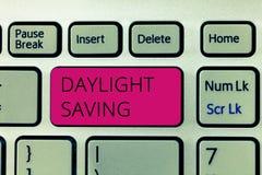 Besparing för dagsljus för ordhandstiltext Affärsidéen för lagringsteknologier, som kan vara van vid, skyddar data arkivfoto