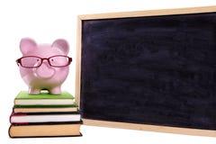 Besparing för universitetsstudentutbildningspengar, bärande exponeringsglas för spargris med den lilla tomma svart tavla som isol Arkivfoton