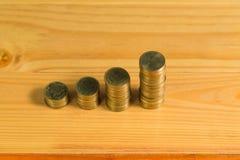 Besparingar ökande kolonner av guld- mynt, högar av guld- mynt a Royaltyfri Foto