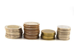 Besparingar ökande kolonner av mynt royaltyfri fotografi