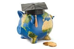 Besparingar för utbildningsbegrepp Spargris med översikten av jord, 3D stock illustrationer