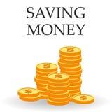 Besparingdollarmynt illustration för stil för design för begreppsillustrationlägenhet piggy sättande sparande för grupppengar Royaltyfri Foto