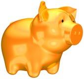 Besparingen en geld: Gouden spaarvarken Stock Foto's