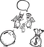 Besparingen en het besteden conceptenillustraties Royalty-vrije Stock Afbeelding