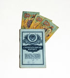 Besparingenboek en bankbiljetten van de Sovjetunie Stock Afbeeldingen