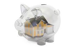 Besparingengeld voor huisconcept, het 3D teruggeven stock illustratie