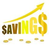 Besparinggrafen växer myntet Arkivbild