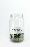 Besparingsgeld in fles Royalty-vrije Stock Foto's