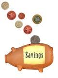 Besparingsparbössan som är piggy packar ihop - UK som isoleras över vit Arkivbilder