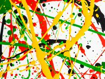 Bespatte de kunst morste geelgroene rode zwarte verf expressionism royalty-vrije stock fotografie