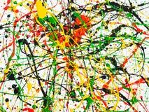 Bespatte de kunst morste geelgroene rode zwarte verf expressionism stock foto's