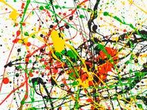 Bespatte de kunst morste geelgroene rode zwarte verf expressionism royalty-vrije stock foto's