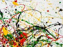 Bespatte de kunst morste geelgroene rode zwarte verf expressionism stock foto