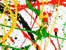 Bespatte de kunst morste geelgroene rode zwarte verf expressionism royalty-vrije stock afbeelding