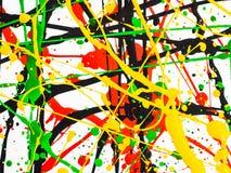 Bespatte de kunst morste geelgroene rode zwarte verf expressionism stock fotografie